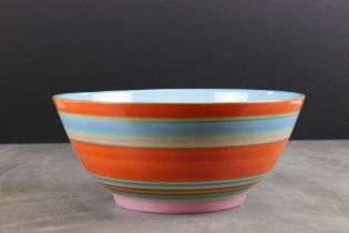 Clarice Cliff for Newport Pottery Bowl in the Liberty Stripe pattern, 21cms diameter