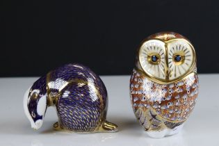 Two Royal Crown Derby Ceramic Paperweights - Barn Owl and Badger, both with gold stoppers