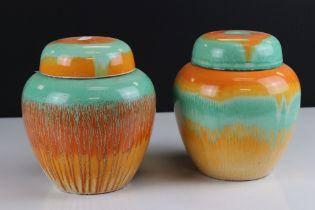 Pair of 1930's Shelley ' Harmony ' Lidded Ginger Jars, 18cms high