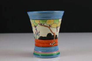 Clarice Cliff Bizarre Vase, shape 572, in the ' Tulips ' pattern, 10cms high