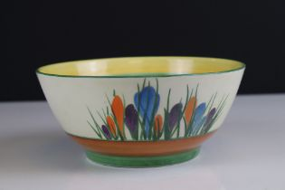 Clarice Cliff Bizarre Bowl in the ' Crocus ' pattern, 17cms diameter