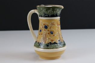Late 19th / Early 20th century James Macintyre ' Gesso Faience ' Water Jug with pewter lid decorated