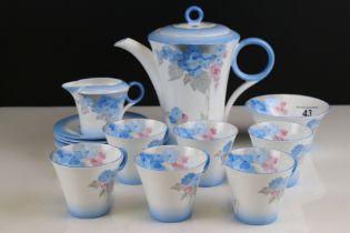 Art Deco Shelley Blue Phlox Coffee Set comprising Coffee Pot, Milk Jug, Sugar Bowl, Six Cups and Six