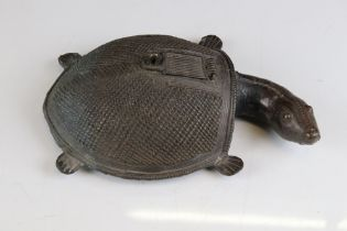 Indian Cast Metal Incense Burner in the form of a Dhokra Tortoise, 26cms long