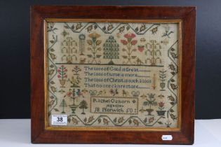 Mid 19th century Needlework Sampler by Rachel Osborn, Norwich, aged 10, dated 1850 incorporating a