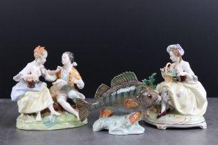 Beswick Perch, model no. 1875 (repair to one fin) together with Two Continental Porcelain Figure