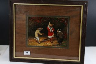 Framed oil painting, a satirical scene of animals dressed in clothing, a fox, a rabbit & a rat