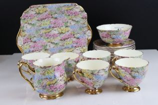 Shelley Rock Garden Tea Set comprising Six Cups, Saucers and Tea Plates plus Milk Jug, Sugar Bowl