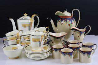 Two Art Deco Coffee Sets, Bursley ware and Crown Staffordshire both comprising Coffee Pot, Milk Jug,