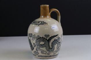 Late 19th / Early 20th century Stoneware Whisky / Spirit Flask, printed decoration including ' The