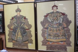 Two Chinese Ancestor Paintings on Silk depicting Seated Chinese Officials, both 109cms x 80cms,