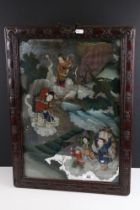Chinese Reverse Painted Mirror decorated with figures in a landscape floating on clouds contained