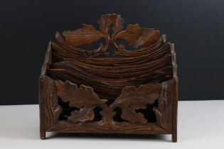 Black Forest Carved Wooden Three Section Letter / Stationery Rack, 21cms high