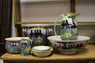Early 20th century Staffordshire Wilkinson's Pottery Wash Set decorated with Silhouetted Figures