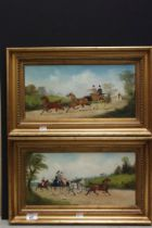 Manner of Philip Rideout Coaching scenes, a pair Oil on canvas, indistinctly signed and dated 1906
