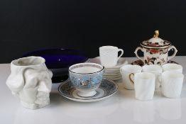 L & F White Glazed Toby Jug of Margaret Thatcher together with Thomas Webb Blue Glass Bowl, Mason'