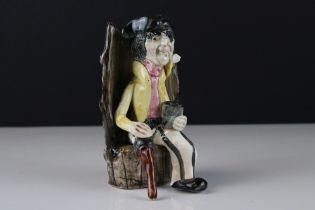 Will Young Widdecombe Fair Pottery Figure of a Pirate with a Wooden Leg sat on a Barrel Seat,