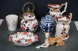 A group of mixed ceramics to include Mason's Jug's, a Royal Doulton 1911 coronation mug, a Chinese