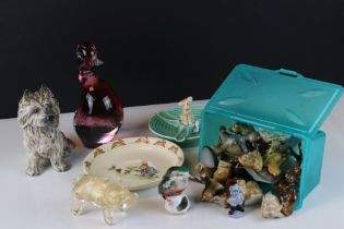 A collection of mixed ceramics and glassware to include Sylvac, Wade and Royal Doulton.