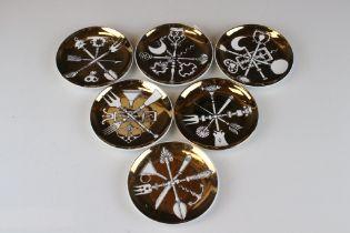 Set of Six Mid Century Italian 'Fornasetti Milano ' Posateria ' Dishes, 10cms diameter