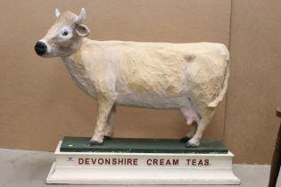 Large vintage papier mache cow advertising Devonshire Cream Teas