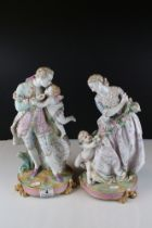 Pair of Continental Porcelain Figures with Cherubs, in the Dresden manner, 37cms high