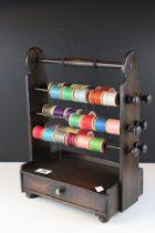 Antique oak cotton dispenser with drawer
