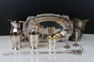 Collection of silver plate, to include Mappin & Webb coffee pot, Alexander Clark tankards, bud vases