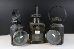 A collection of three vintage railway lamps to include two British Rail and one London Midland