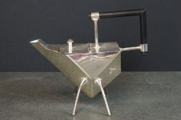 Unusual silver plated angular teapot in the Christopher Dresser style
