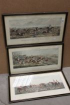 After John Dean Paul, a set of three Leicestershire hunting prints; ' A Struggle To The Start ' '