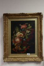 Ornate gilt framed oil painting, still life classical study of a floral display with butterfly