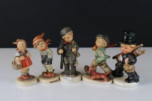 Five Goebel Hummel Figures including March Winds, Little Shopper, Strolling Along and Two Boys
