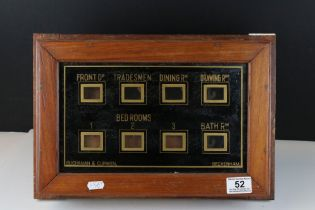 Antique butler's servant bell box with eight windows