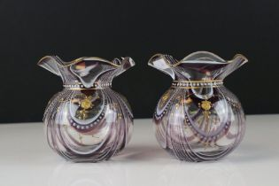 Pair of Purple and White Swirl Glass Bowls with delicate gilt enamelling and wave neck rims,