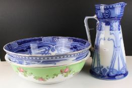 Art Nouveau Royal Doulton Wash Jug and Bowl Set in the Aubrey pattern together with a Rose Patterned