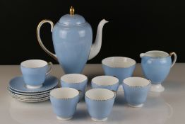 Wedgwood Bone China Coffee Service with plain pale blue body and gilt decoration comprising Coffee