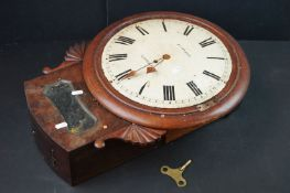 19th century Mahogany cased wall clock, the dial marked Russell of Liverpool