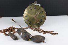 Early 19th century ' Whitehurst & Son of Derby ' Hook and Spike Alarm Clock, the 15.5cm brass face