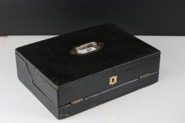 A Victorian leather covered writing box with inkwell, width approx 50cm.