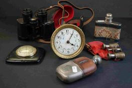 A box of mixed collectables to include binoculars, Liberty hip flask, opera glasses, clock