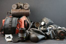 A small collection of camera's and binoculars to include Fujica and Olympus examples.