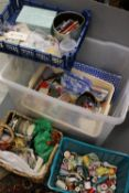 Sewing - A storage box containing cotton reels, buttons, wool etc.. mostly vintage.