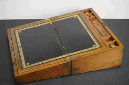19th century Walnut Writing Slope with brass banding and fitted interior to include glass inkwells.