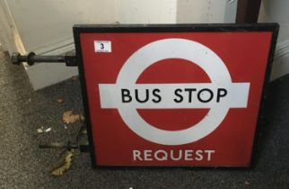 """Vintage Bus Stop request sign 16"""" x 18"""" in cast iron surround"""