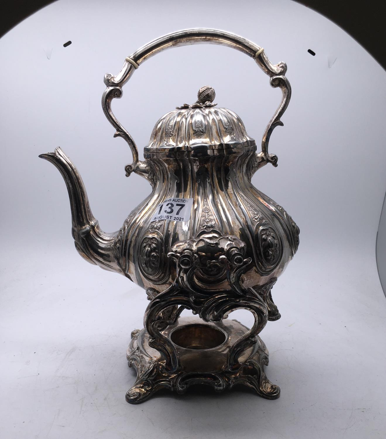 Silver plated Victorian Rococo design spirit kettle on stand, makers mark to base Shaw and Fisher,