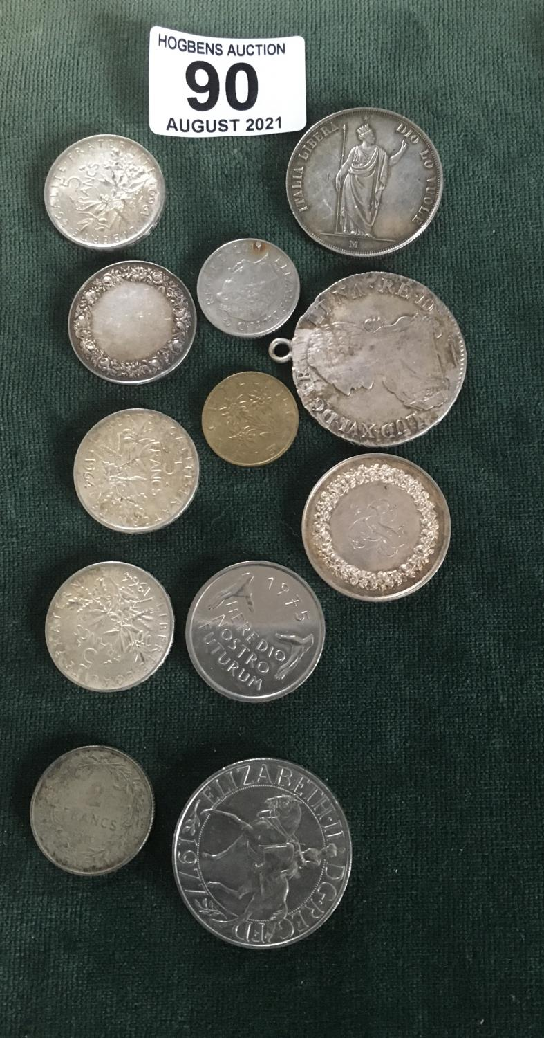 Collection of old French coins including some silver