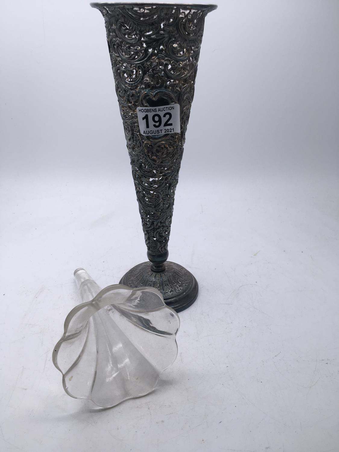 """Silver plated Classical design fluted flower vase, 14"""" tall - Image 2 of 2"""