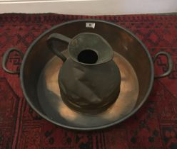 """Heavy copper Jam pan """" 20 inches dia 8"""" tall and a 19 th century copper water jug """" tall"""