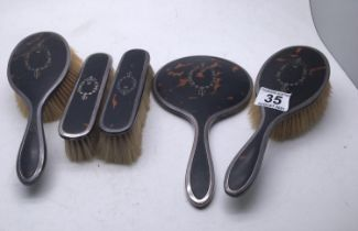 Tortoise shell and silver piquet ware brush and mirror set 4 items,